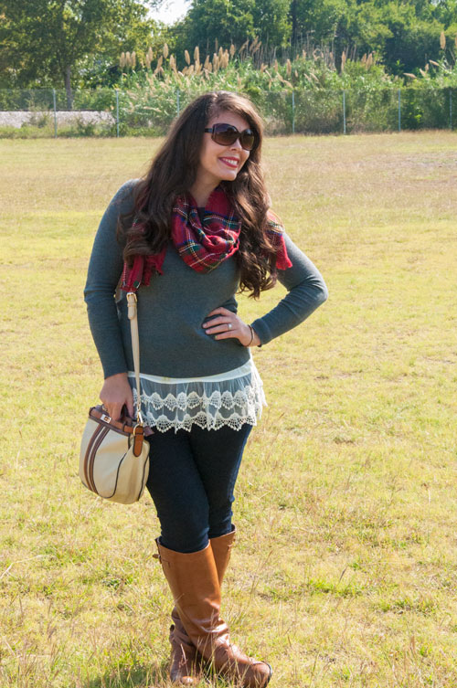 Fall outfit- plaid scarf with grey sweater