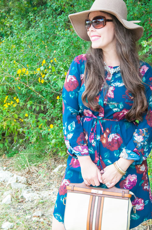 Floral Navy Dress with Floppy Hat