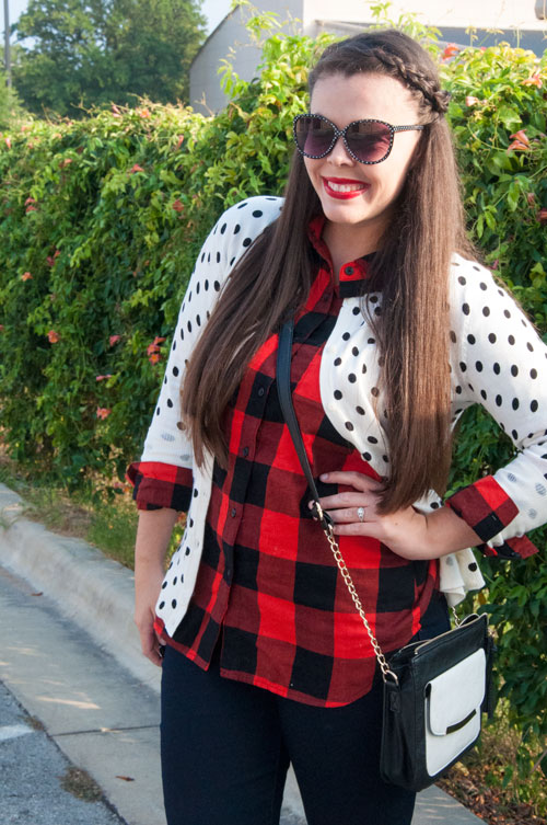 Great pattern mix, polka dots and buffalo check