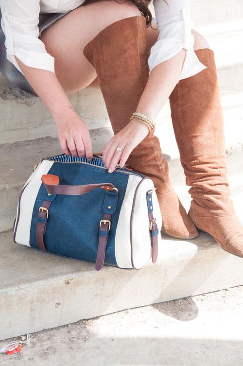 Navy Charming Charlie Handbag with cognac boots