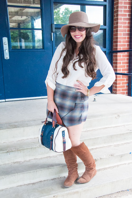 Navy plaid skort with Navy satchel