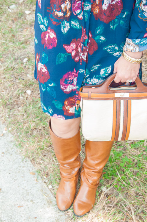 Navy shirt dress with boots and camel bag