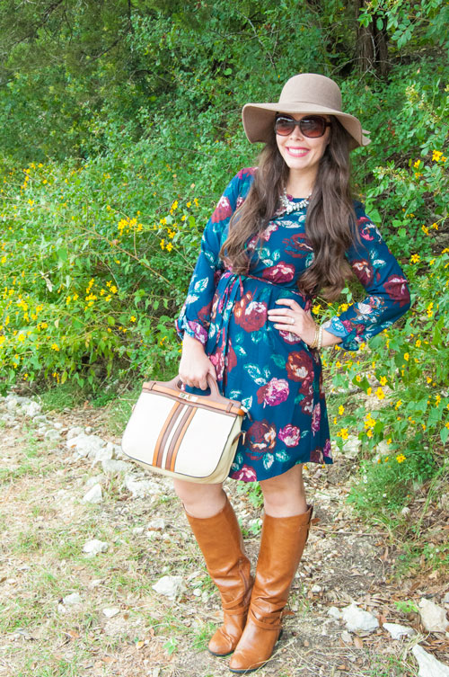Navy shirt dress with floppy hat and boots
