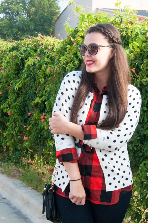 Pattern Mixing with plaid and polka dots