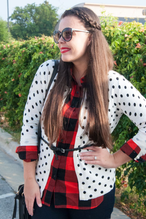 Plaid and polka dot outfit- Pattern mixing