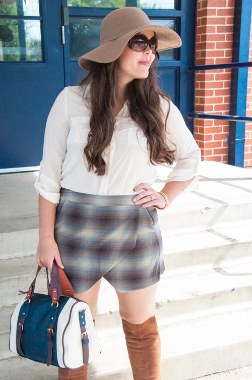 Plaid skort with knee high boots