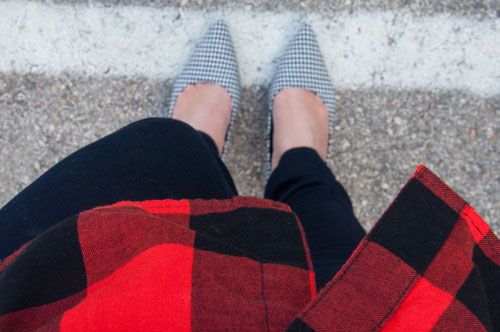 Red and Black Plaid with Houndstooth Heels