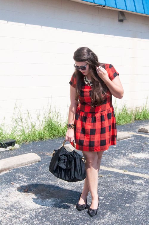 Red and black plaid drop waist dress