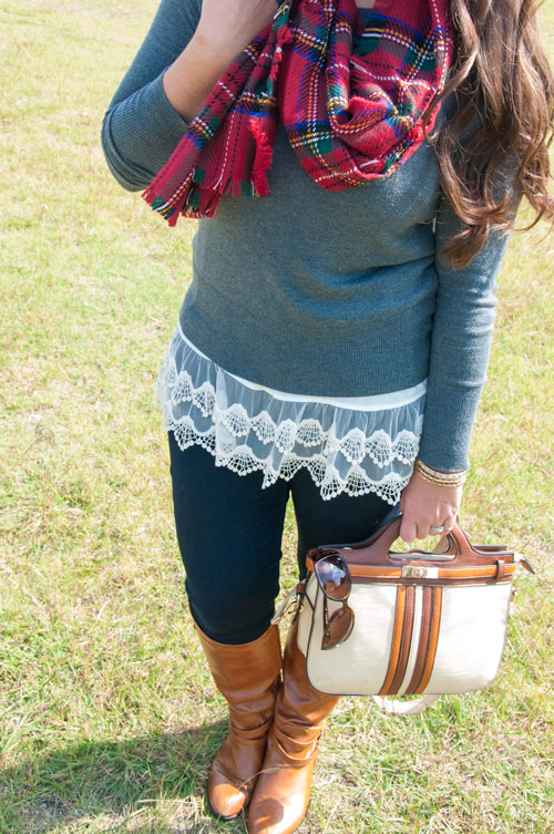 Red plaid scarf with a grey sweater