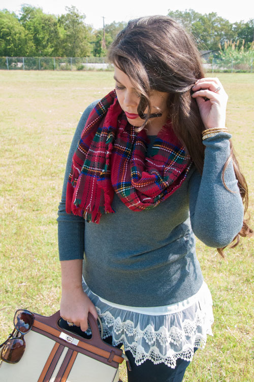 Red plaid scarf with a lace tunic