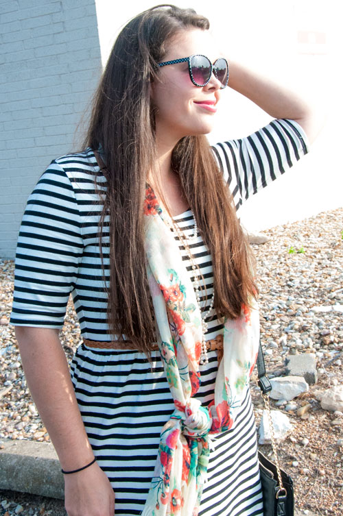 Striped dress with floral scarf- outfit inspiration