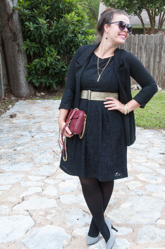 Black Lace Dress with black blazer and tights- office wear