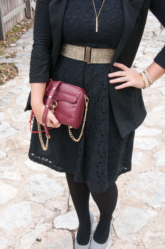 Burgundy Rebecca Minkoff Mini MAC with black and gold outfit