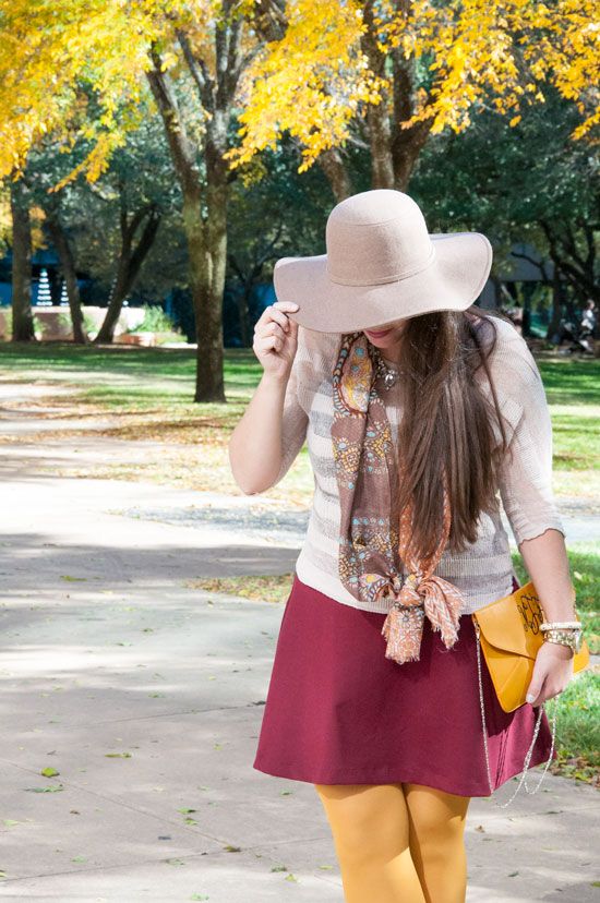 Burgundy skirt with a fall hat