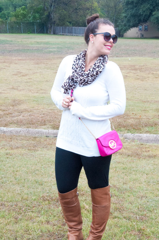 Casual white sweater with a pop of leopard and pink