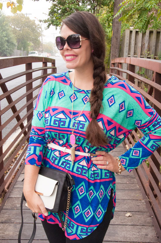 Cobalt Pink and Turquoise Printred Tunic