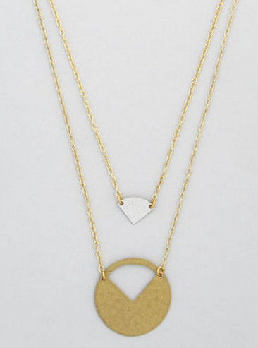 Cut out silver and gold necklace
