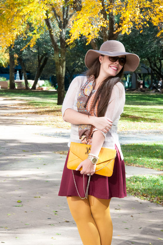 Fall Outfit- mustard and burgundy