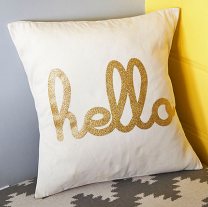 Hello gold glitter pillow