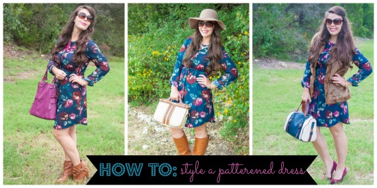 All That Glitters: How to style a patterned dress three ways! She has cute clothes and each post tells where she gets them!