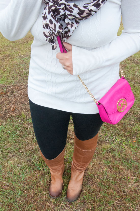 Leggings and boots with a sweater and scarf