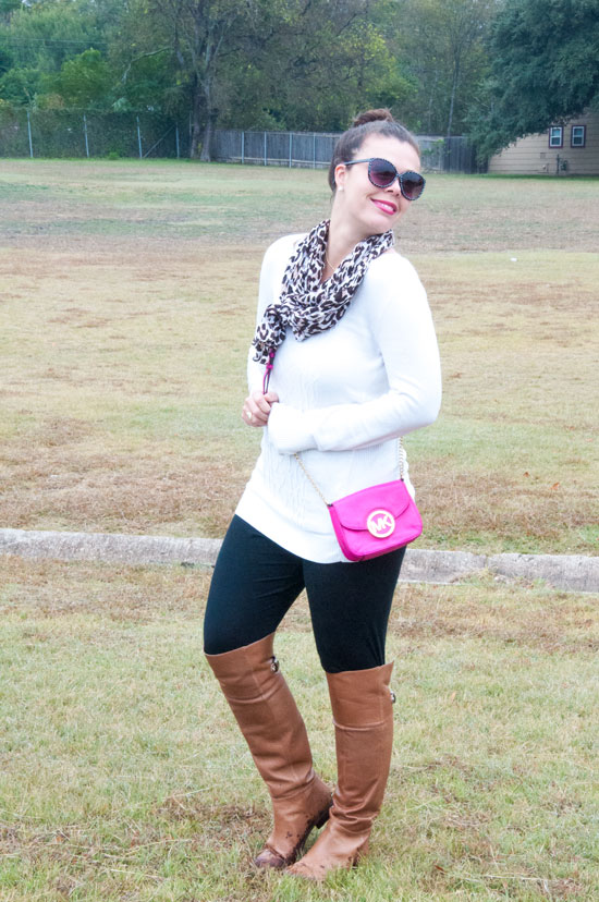 Leggings with knee high boots and a cozy sweater
