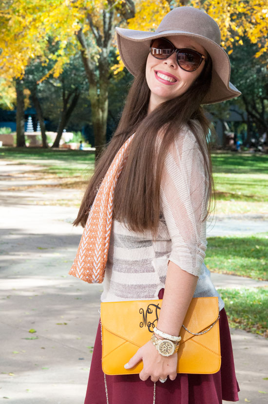 Mustard Monogrammed Clutch with burgundy skirt