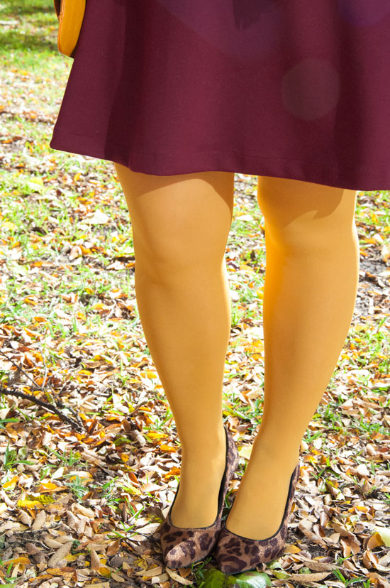 Mustard tights with leopard pumps
