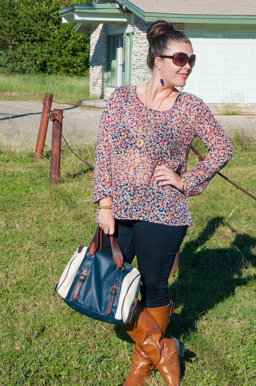 Navy Floral Chiffon Top with Riding Boots