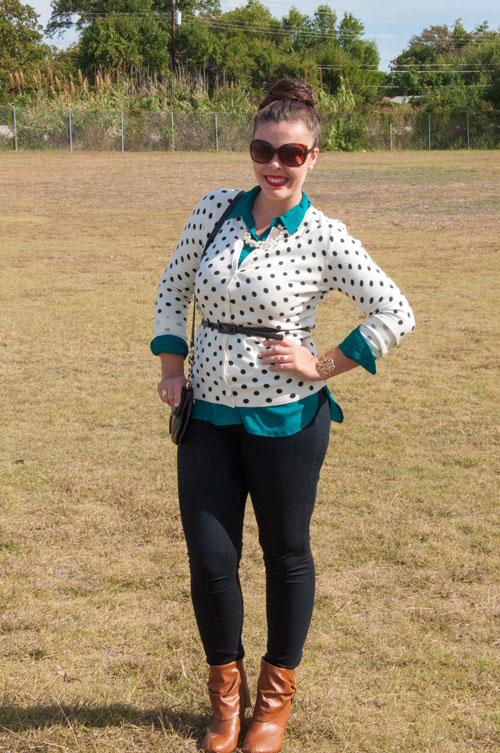 Polka dot cardigan with teal button down
