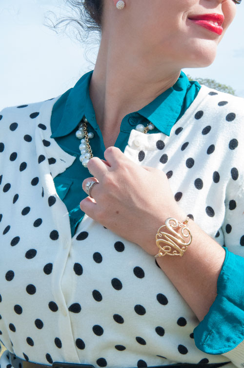 Polka dots layered with teal top