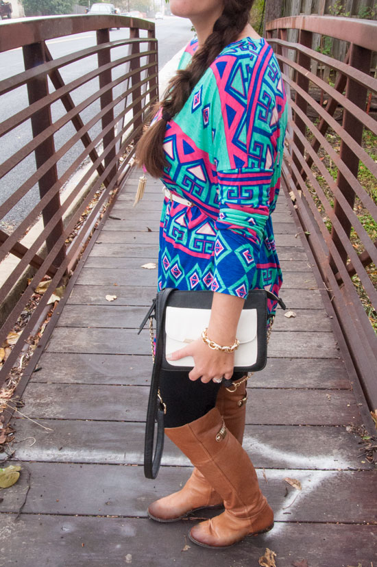 Printed tunic, leggings, and knee high boots