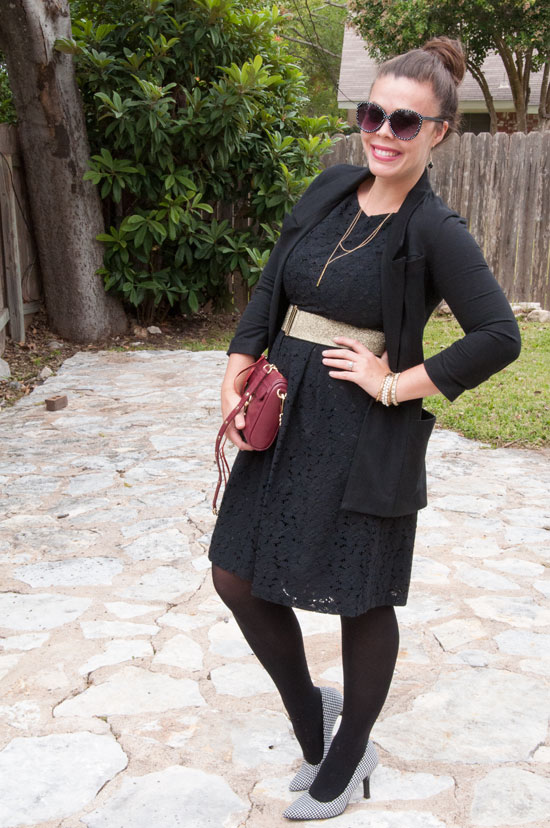 What to wear to work- Black lace midi dress with black blazer
