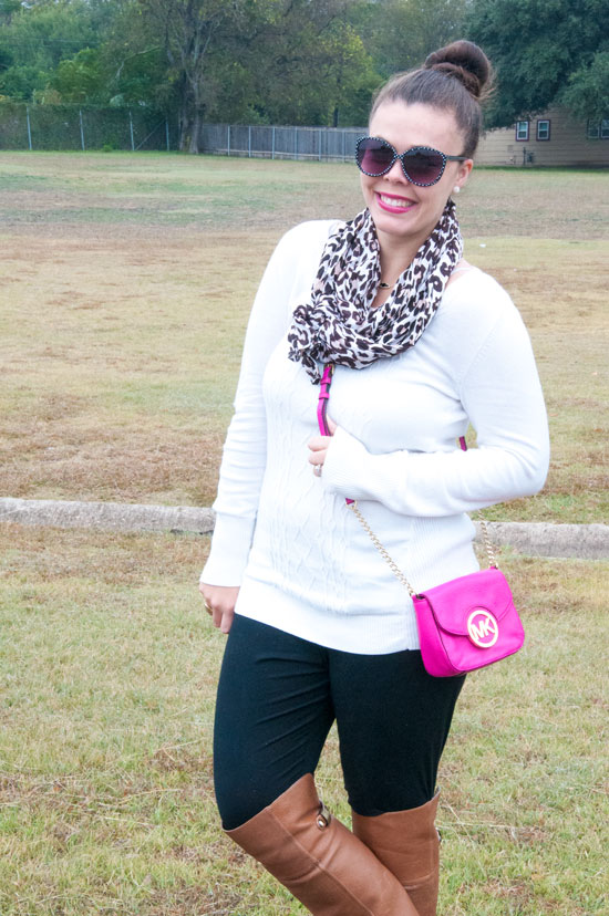 White Sweater with leggings- casual cozy outfit