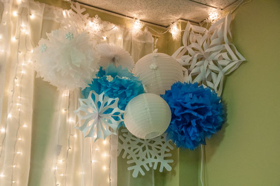 Fabric Light Wall with giant snowflake corner
