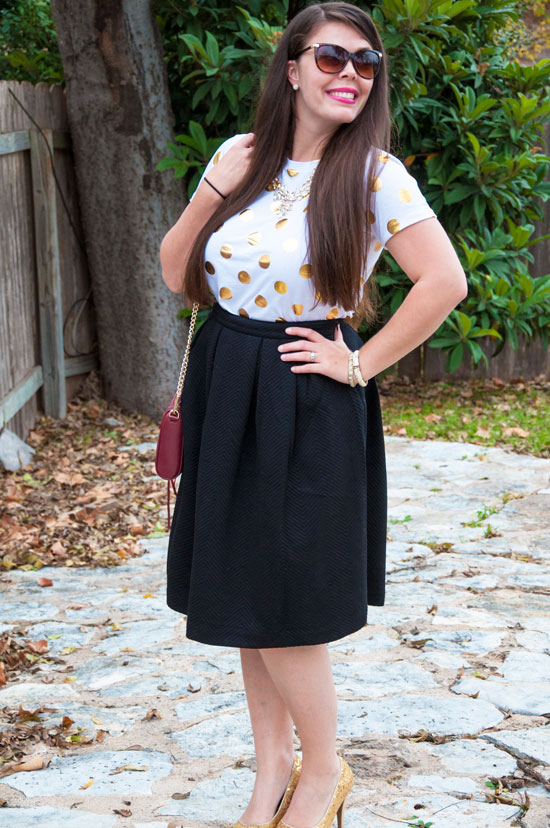 Gold dots t-shirt and a black midi skirt