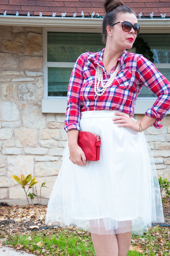 Handmade Tulle Skirt with plaid top