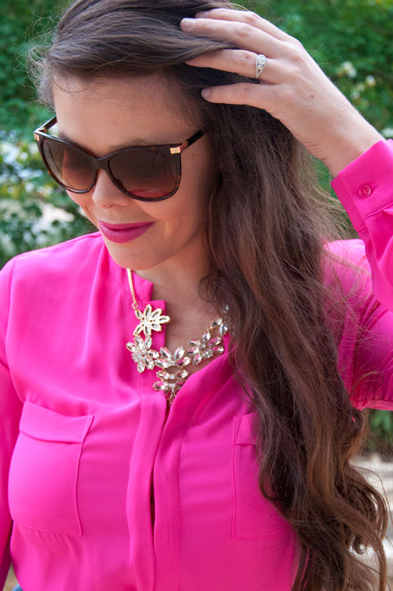 Hot Pink Chiffon Top