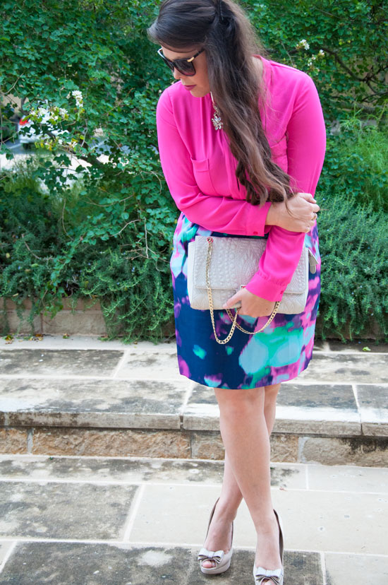 Hot pink top with Kate Spade Skirt