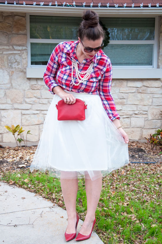 Lady in red- plaid and tulle