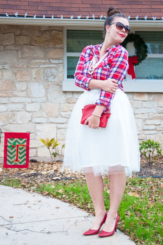 Plaid, pearls, and tulle