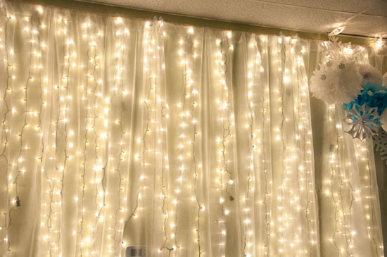 Pretty fabric covered light wall