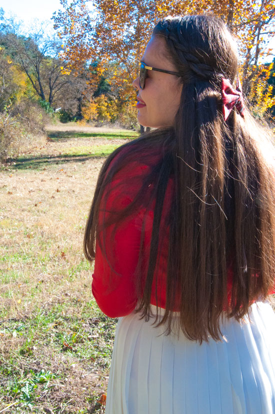 Red plaid bow clip