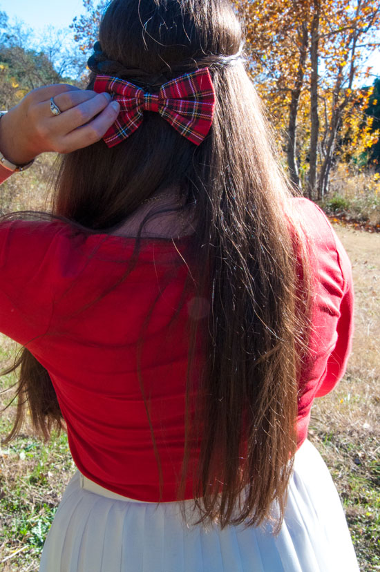 Red plaid bow with Holiday outfit
