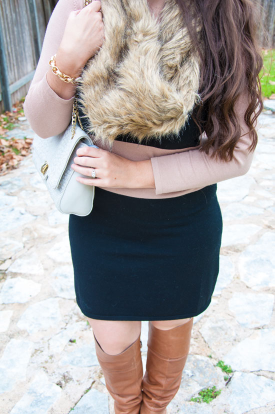 Striped sweater dress with boots