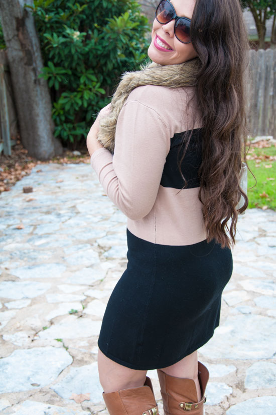 Tan and black sweater dress