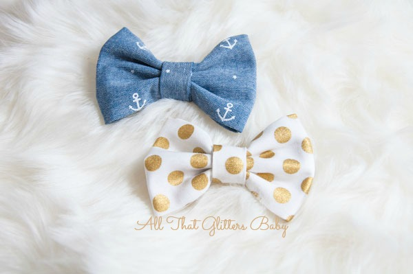 Anchors and Dots Bow Set