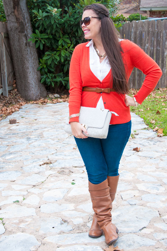 Belted cardigan with boots