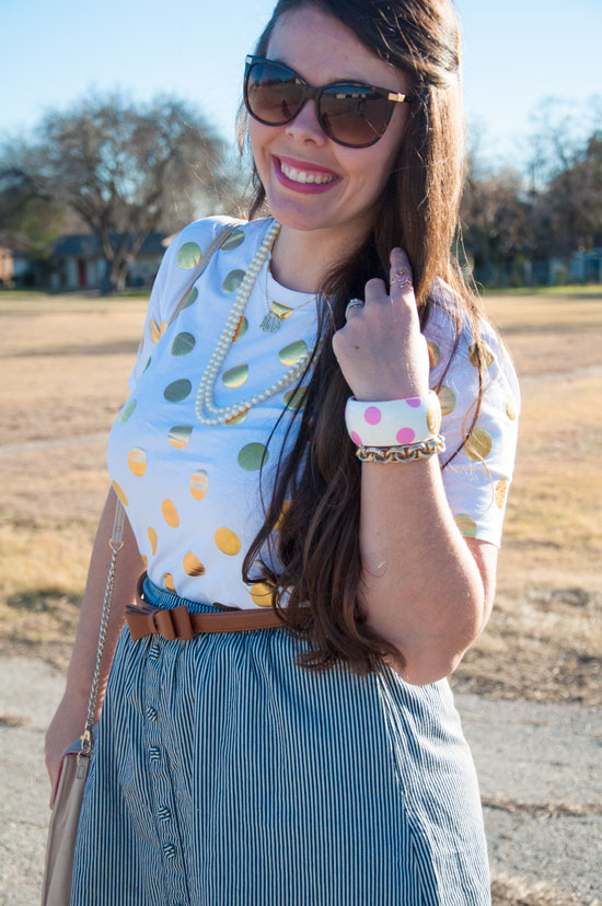 Blue striped skirt with gold dot top