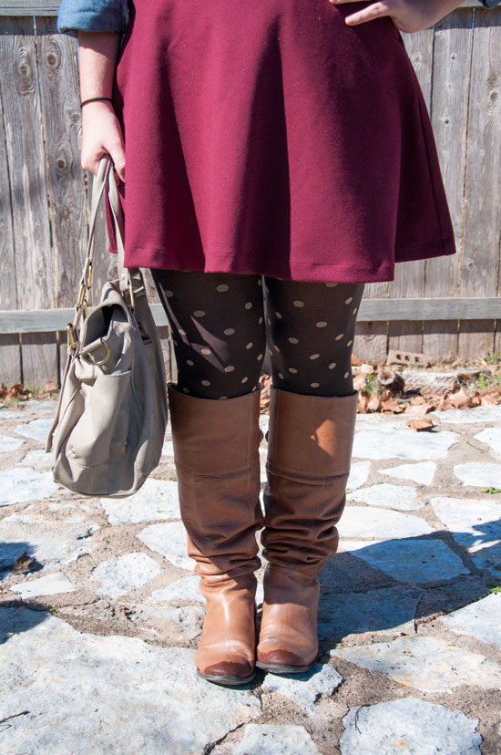 Burgundy Circle skirt with polka dot tights